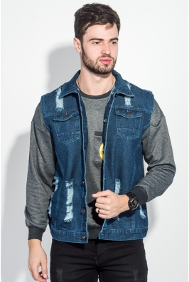 Жилетка джинс мужская с принтом на спине 203V001