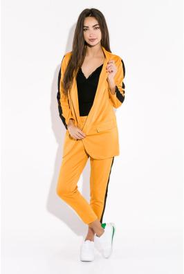Костюм женский (брюки, пиджак) с контрастной полосой 72PD203