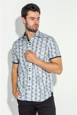 Рубашка мужская цветочный принт, полоска 50P016