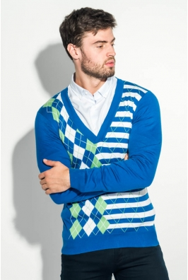 Пуловер мужской с комбинированным орнаментом 50PD311