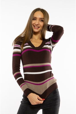 Пуловер женский с V-образным вырезом 618F151