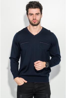 Пуловер мужской однотонный, с карманом-обманкой 50PD547