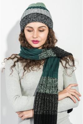 Комплект универсальный шарф, шапка в полоску 65P3561