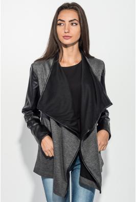 Кардиган женский рукава из экокожи, карман-обманка 64PD314