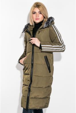 Пальто женское зимнее с лампасами 677K006