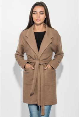 Пальто женское однотонное с поясом 64PD304-1