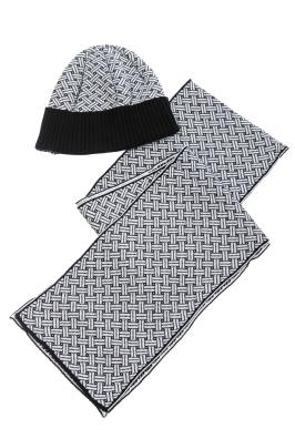 Комплект мужской шарф, шапка геометрический принт 65P3537-1