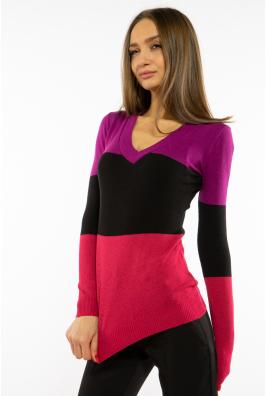 Пуловер женский с V-образным вырезом 618F074