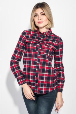 Рубашка женская в клетку, длинный рукав 216V001