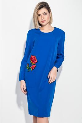 Платье женское (батал) с цветочными нашивками, боковыми карманами 74PD321