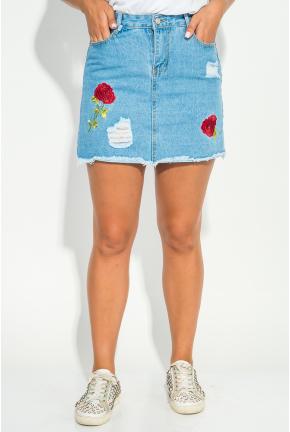 Юбка женская джинс с нашивками 152V001