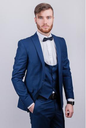 Пиджак синий мужской, на одной пуговице №276F021