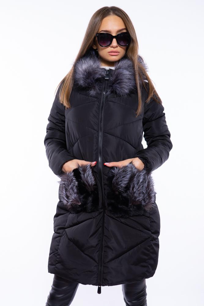 Женская куртка с мехом на карманах 120PSKL2169
