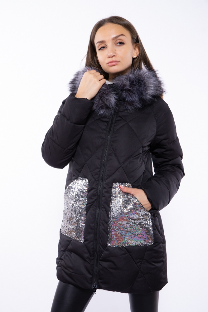 Женская куртка с пайетками на карманах 120PSKL5121