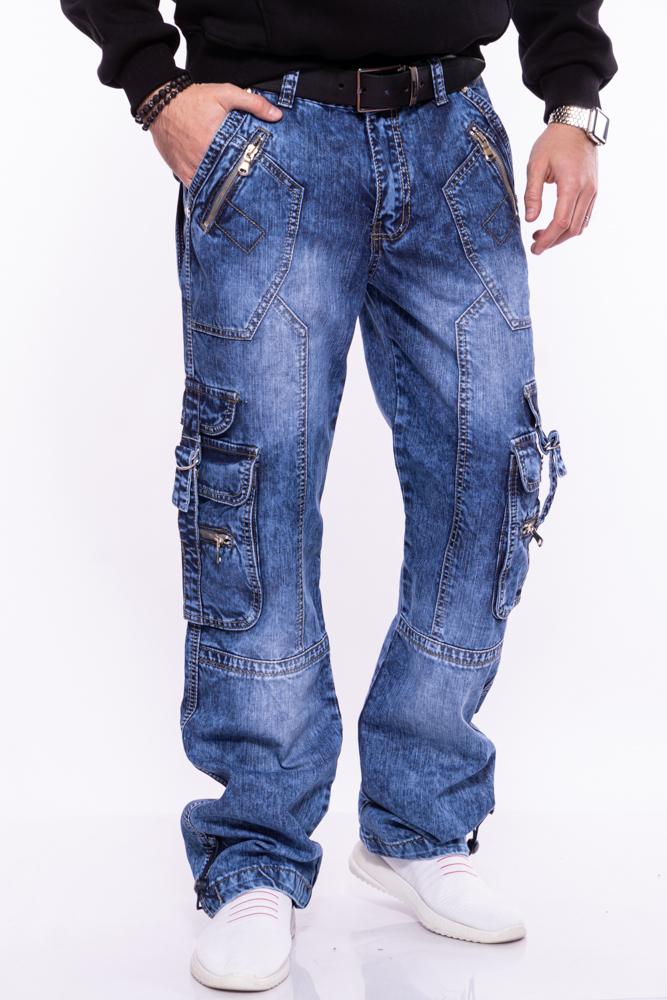 Джинсы широкие с накладными карманами 134P5749