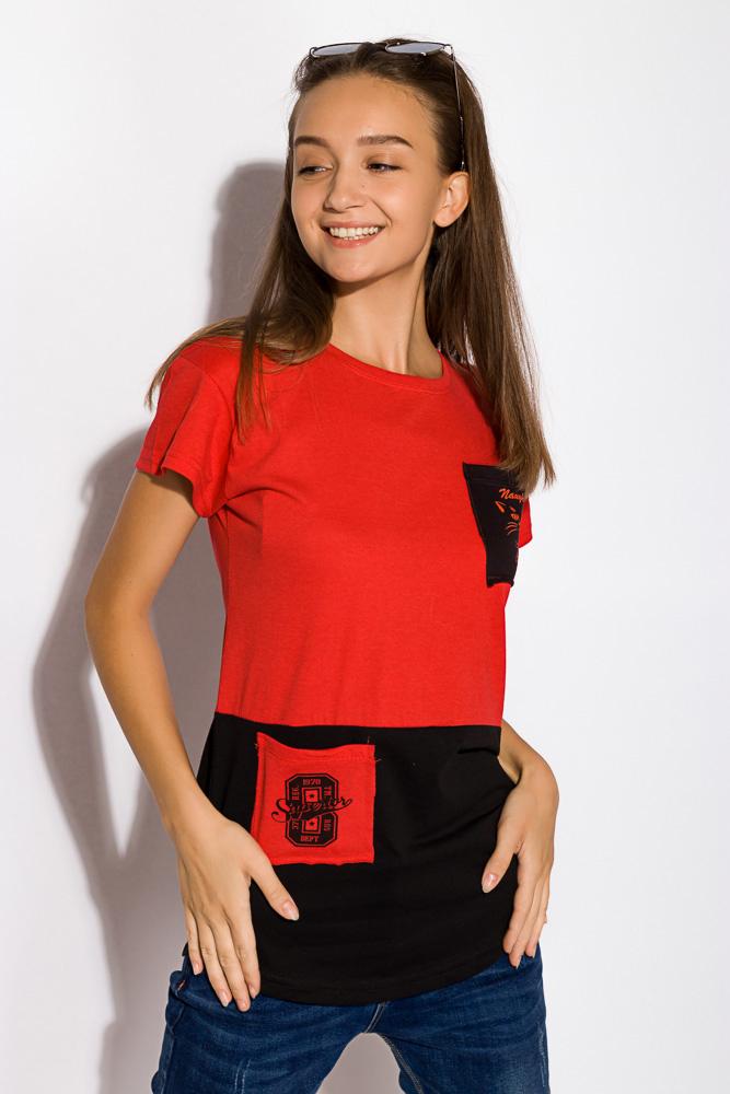 Хлопковая футболка с принтом на кармане 317F077