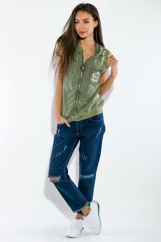 Жилетка женская, стильная с капюшоном 32P054