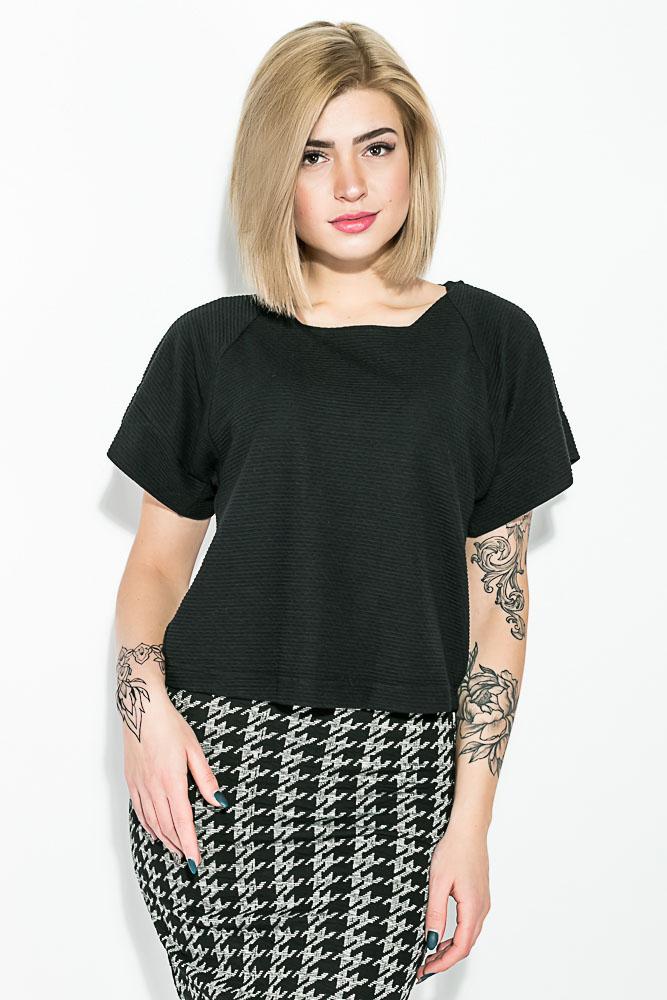 Блуза женская, короткий рукав, однотонная  19PL146