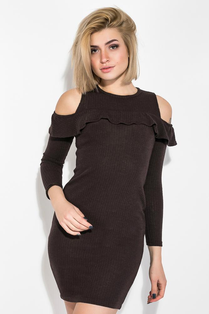 Платье женское с открытыми плечами и рюшами  64PD278