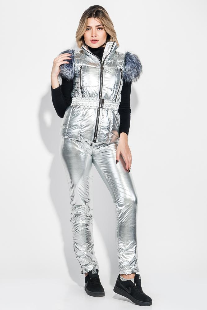 Костюм женский теплый, оттенки металлик, с мехом на плечах 69PD1064