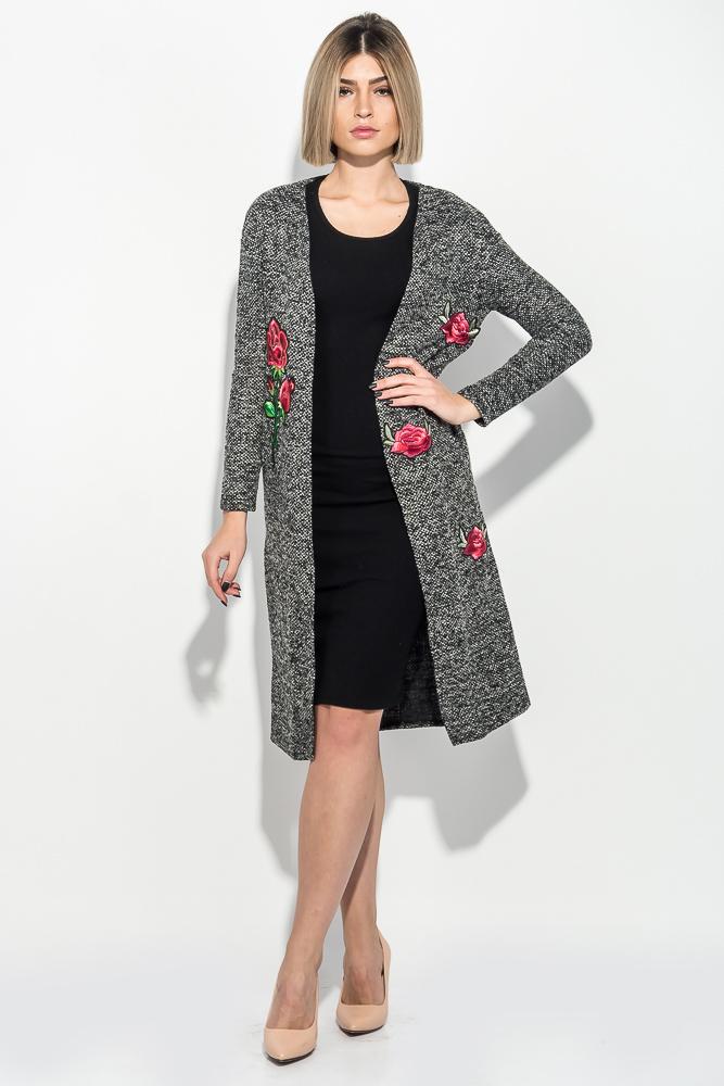 Кардиган женский меланж, с цветочными нашивками 69PD920