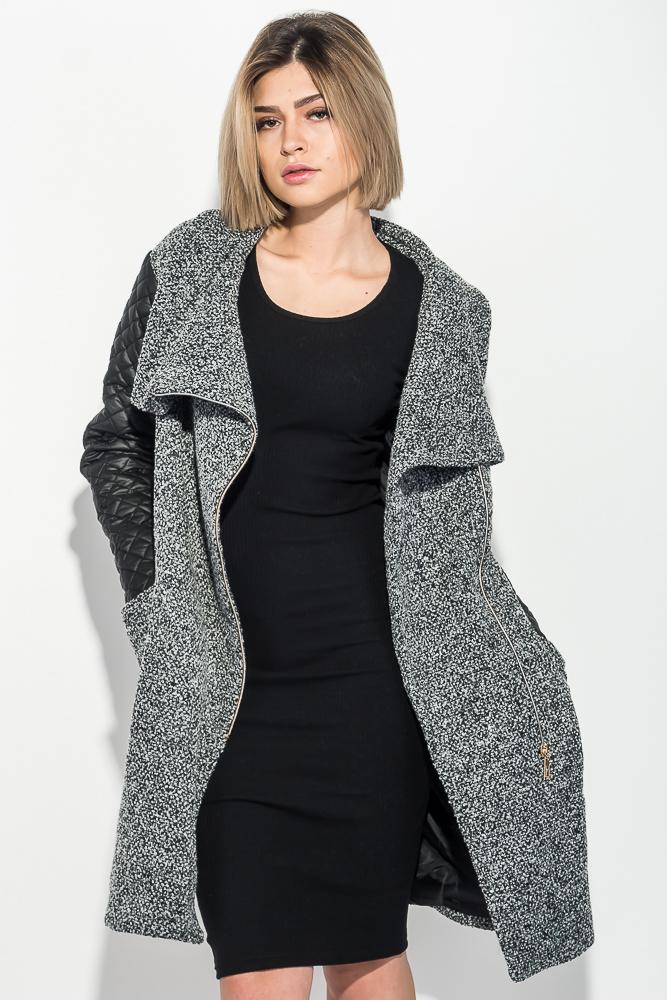 Пальто женское со стеганными рукавами, на молнии 69PD976