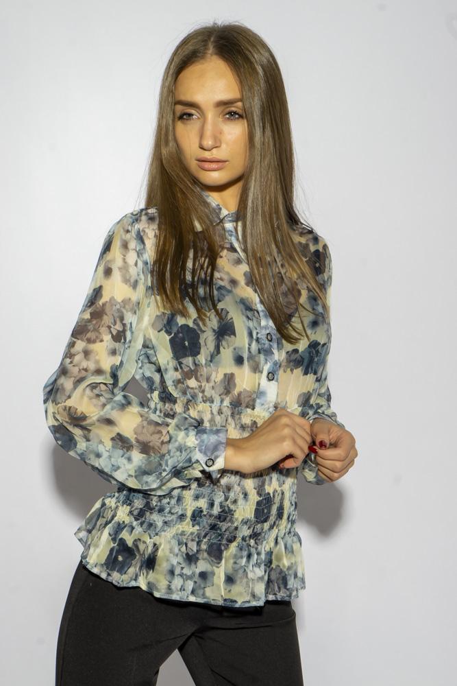 Блуза из шифона с цветочным принтом 118P352