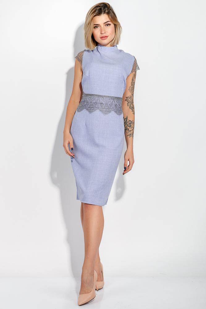 Платье женское (батал) с кружевом на рукавах и поясе 74PD305