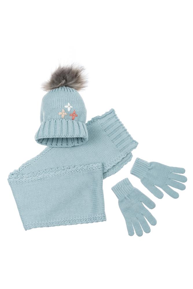 Комплект деткий (для девочки) шапка, шарф и перчатки однотонный, с декором 65PG5109 junior