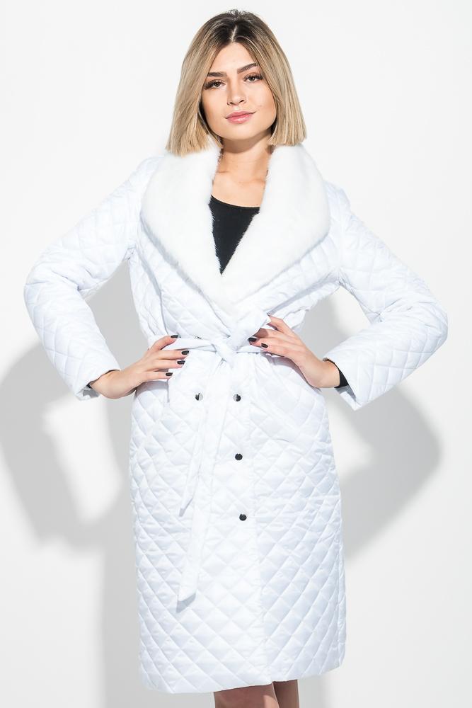 Пальто женское стеганное, с мехом 69PD1059