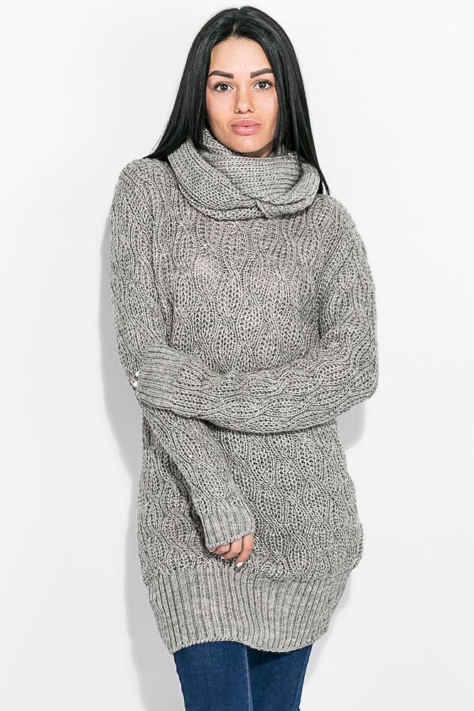 свитер женский вязаный с хомутом 81pd872 купить дешево интернет