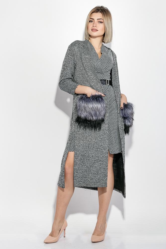 Кардиган женский с карманами из искусственного меха 69PD832