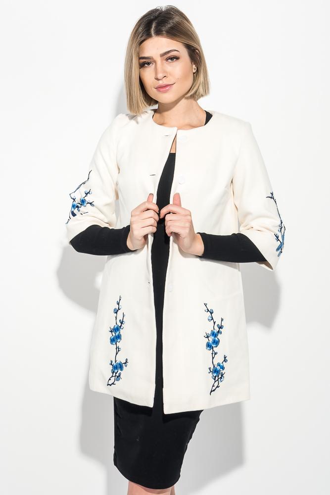 Пальто женское нашивки цветочных веток, рукав три четверти 69PD970