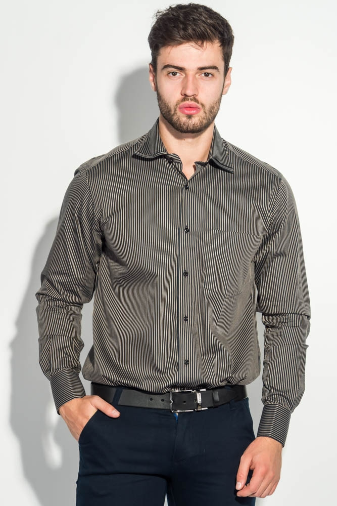 Рубашка мужская двойной воротник в полоску 50PD15601