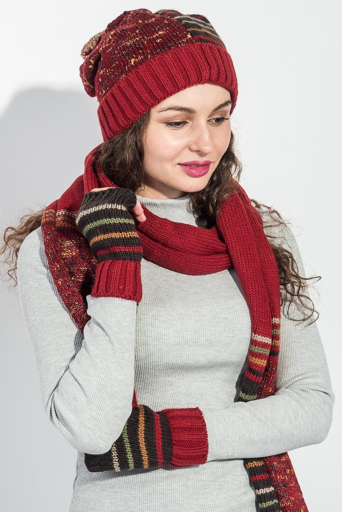 Комплект женский шапка, шарф и митенки в полоску 65PF3062