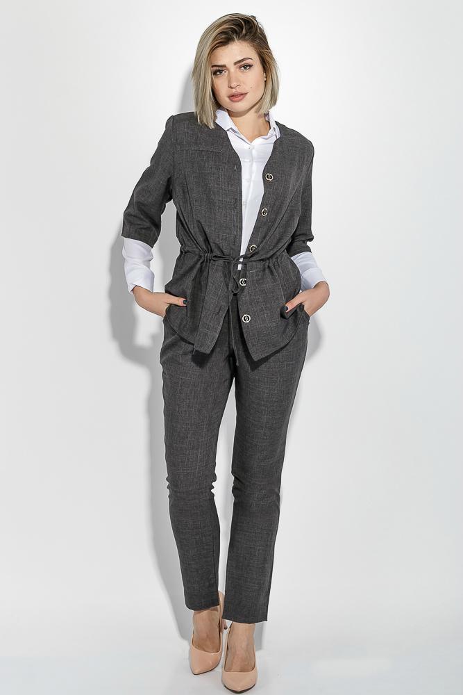 Костюм женский (пиджак и брюки) батал, деловой, однотонный 74PD357