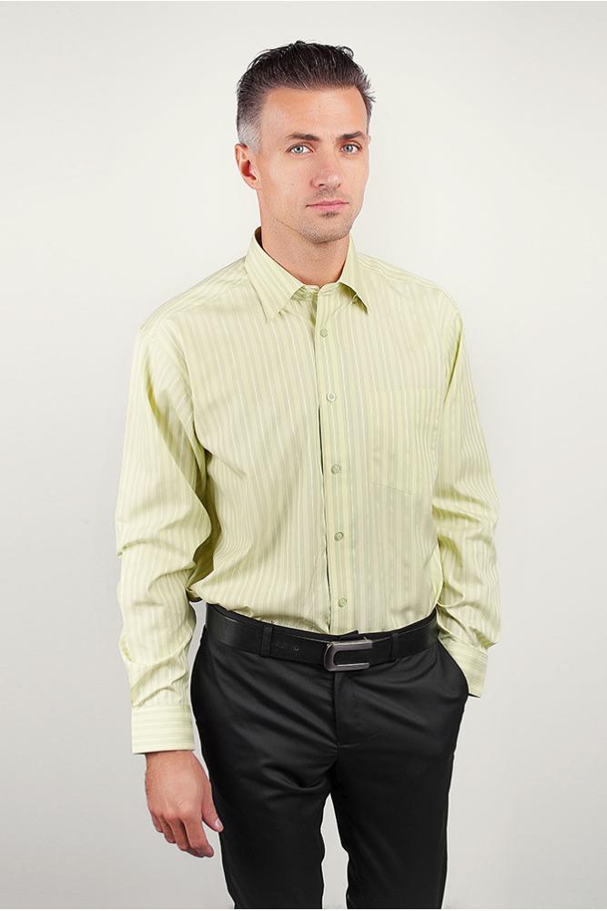 Рубашка мужская regular fit салатовая, в полоску Fra №8012-14 салатовый