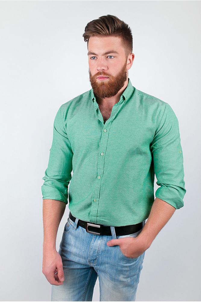 Рубашка однотонная, хлопок, длинный рукав №208F002