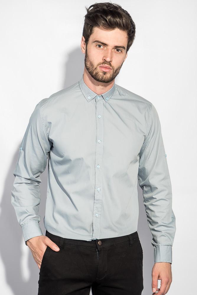 Рубашка с длинным рукавом однотонная №208F008 черный