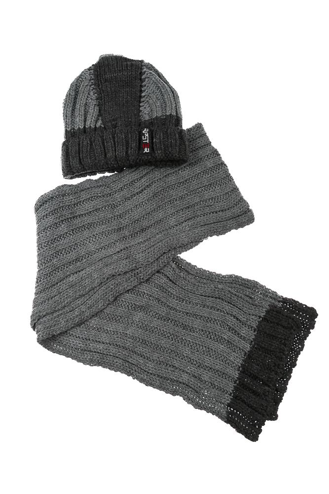Комплект детский (для мальчика) шапка и шарф в темном оттенке 65PB13-001 junior