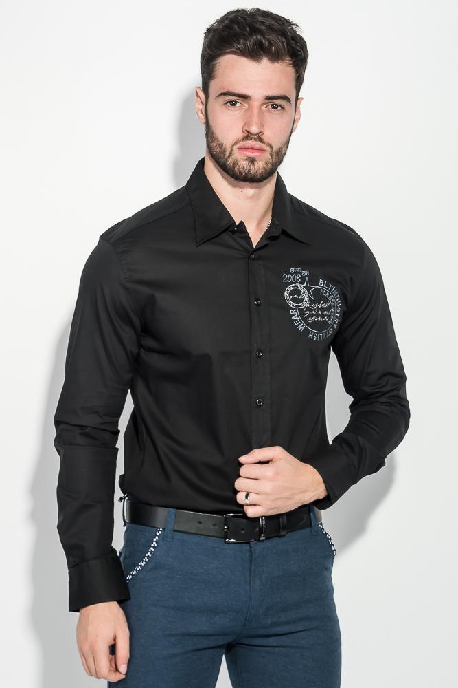 Рубашка мужская однотонная, с декором на груди 50PD0011-1