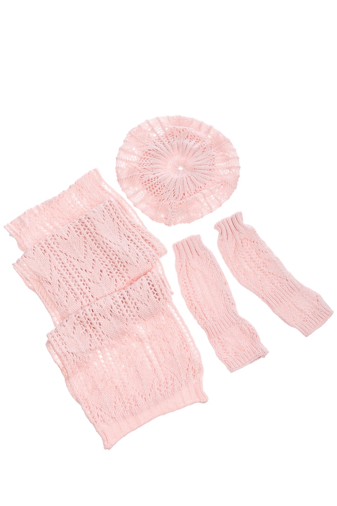 Комплект женский шапка, шарф и митенки тонкий 65PF3021