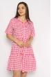 Платье в мелкую клетку 632F011 малиново-белый