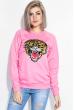 Свитшот женский с нашивкой «Тигр» 82PD919 розовый фуксия