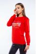 Свитшот женский с принтом на груди  600F007 красный