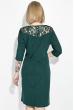 Платье (батал)  с вставкой на рукаве 81PD343 бутылочный