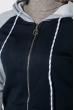Толстовка женская на змейке 224V001 серо-синий