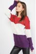 Свитер в полоску  85F033 малиново-фиолетовый