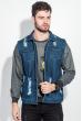 Жилетка джинс мужская с принтом на спине 203V001 синий