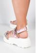 Босоножки женские 11P706 бело-розовый
